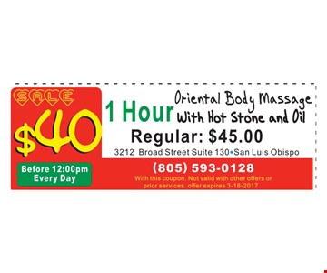 1 hour oriental body massage