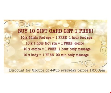 Free gift card with purchase.