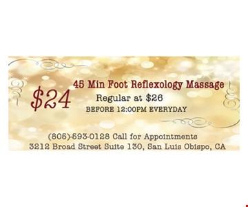 45 minute food reflexology massage for $24.