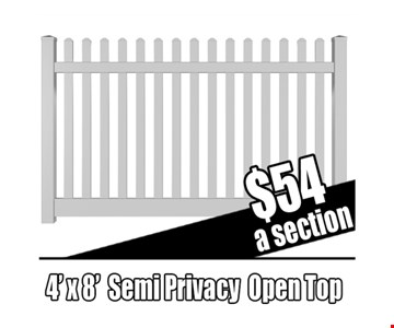 4'X8' semi Privacy  open Top fence  454 a section