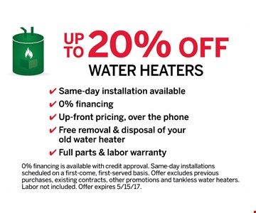 Up to 20% off Water Heaters