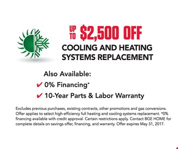 Up To $2,500 Off Cooling and Heating Systems Replacement