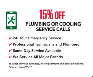15% Off Plumbing or Cooling Service Calls