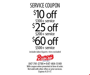SERVICE COUPON $25 off $200+ service. $60 off $500+ service. $10 off $100+ service. Includes labor & parts. Tires excluded. With coupon when presented at time of order. Not valid with other offers or prior services. Expires 4-21-17.