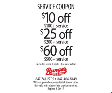 SERVICE COUPON $25 off $200 + service. $60 off $500 + service. $10 off $100+ service.  Includes labor & parts - tires excluded. With coupon when presented at time of order. Not valid with other offers or prior services. Expires 6-30-17.