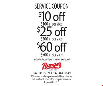 SERVICE COUPON $25 off $200+ service. $60 off $500+ service. $10 off $100+ service. includes labor & parts - tires excluded. With coupon when presented at time of order. Not valid with other offers or prior services. Expires 8-11-17.