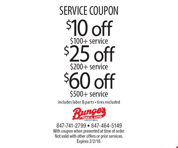SERVICE COUPON $25 off $200 + service OR $60 off $500 + service OR $10 off $100+ service. includes labor & parts - tires excluded. With coupon when presented at time of order. Not valid with other offers or prior services. Expires 2/2/18.