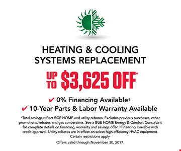 Heating and cooling systems replacement up to $3625 off