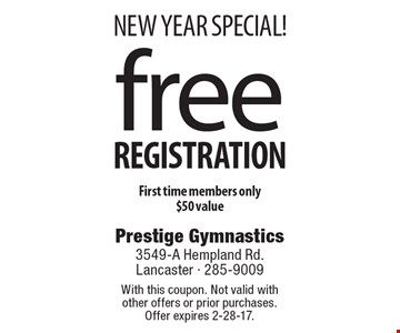 New Year special! Free registration. First time members only. $50 value. With this coupon. Not valid with other offers or prior purchases. Offer expires 2-28-17.