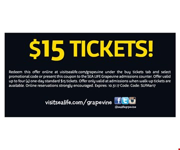 Sea Life $15 Tickets