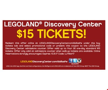 Legoland Discovery Center $15 Tickets