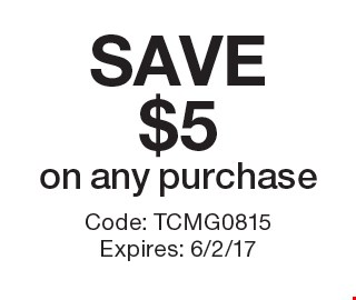 SAVE $5 on any purchase. Code: TCMG0815 Expires: 6/2/17 *Cannot be combined with any other offer. Restrictions may apply. See store for details. Edible®, Edible Arrangements®, the Fruit Basket Logo, and other marks mentioned herein are registered trademarks of Edible Arrangements, LLC. © 2017 Edible Arrangements, LLC. All rights reserved.