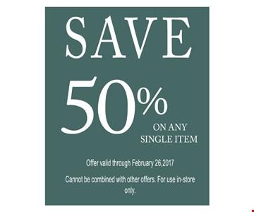 Save 50% on any single item