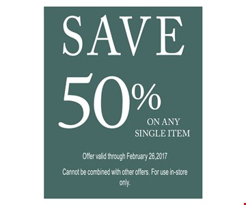 Save 50% on any single item