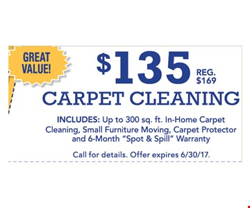 $135 carpet cleaning  includes up to 300 sq . ft. in-home carpet cleaning, small furniture moving, carpet protector and 6-month