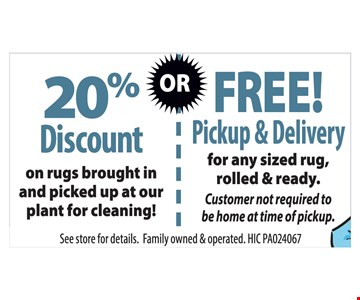 20% Discount or Free Pickup & Delivery