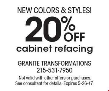 20% OFF cabinet refacing. Not valid with other offers or purchases. See consultant for details. Expires 5-26-17.
