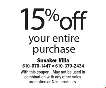 15%off your entire purchase. With this coupon. May not be used in combination with any other sales promotion or Nike products.