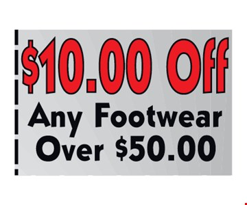 $10.00off any footwear over $50.00