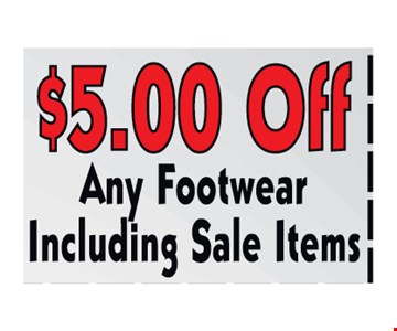 $5.00off any footwear including sale items