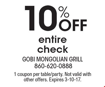 10% Off entire check. 1 coupon per table/party. Not valid with other offers. Expires 3-10-17.