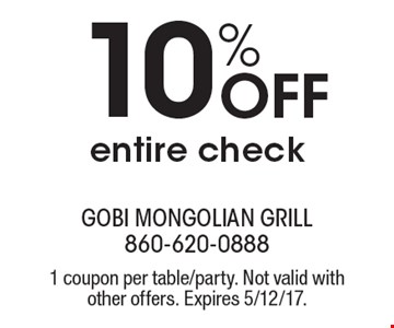 10% off entire check. 1 coupon per table/party. Not valid with other offers. Expires 5/12/17.