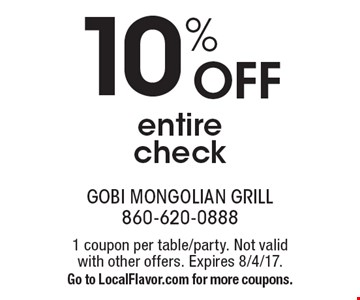 10% off entire check. 1 coupon per table/party. Not valid with other offers. Expires 8/4/17. Go to LocalFlavor.com for more coupons.