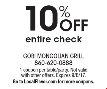 10% off entire check. 1 coupon per table/party. Not valid with other offers. Expires 9/8/17. Go to LocalFlavor.com for more coupons.
