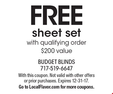 FREE sheet set with qualifying order. $200 value. With this coupon. Not valid with other offers or prior purchases. Expires 12-31-17. Go to LocalFlavor.com for more coupons.