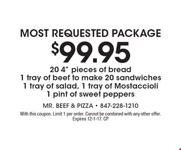 Most requested Package $99.95 20 4