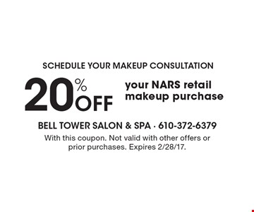 Schedule your makeup consultation! 20% Off your NARS retail makeup purchase. With this coupon. Not valid with other offers or prior purchases. Expires 2/28/17.