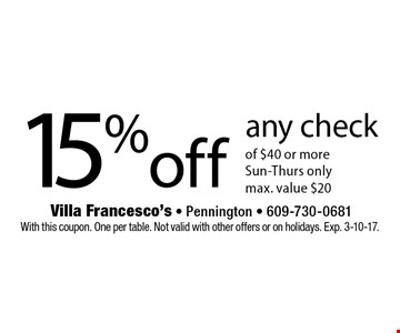 15% off any check of $40 or more. Sun-Thurs only. Max. value $20. With this coupon. One per table. Not valid with other offers or on holidays. Exp. 3-10-17.