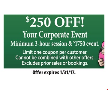 $250 off your corporate event