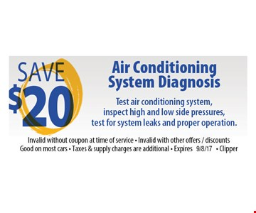 Save $20 air conditioning system diagnosis