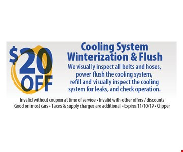 $20 Off Cooling System Winterization & Flush