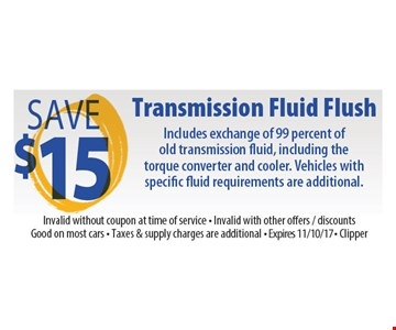 Save $15 Transmission Fluid Flush