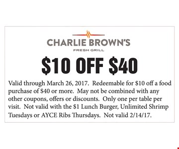 $10 off a food purchase of $40 or more