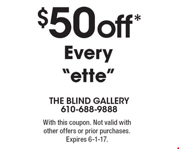 $50 off* Every