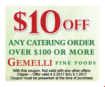 $10 off any catering