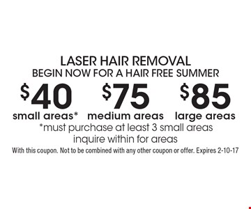 LASER HAIR REMOVAL, BEGIN NOW FOR A HAIR FREE SUMMER. $40 small areas* OR $75 medium areas OR $85 large areas. *Must purchase at least 3 small areas. Inquire within for areas. With this coupon. Not to be combined with any other coupon or offer. Expires 2-10-17