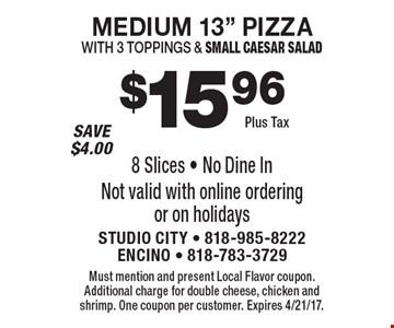 $15.96 plus tax medium 13