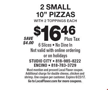 $16.46 Plus Tax 2 SMALL10