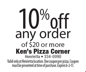 10% off any order of $20 or more. Valid only at Henrietta location. One coupon per pizza. Coupon must be presented at time of purchase. Expires 6-2-17.