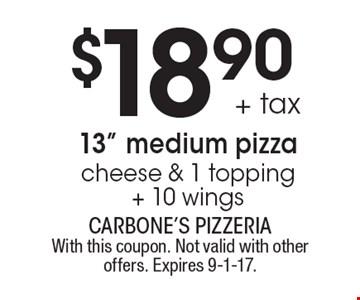 $18.90 + tax 13