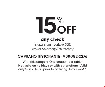 15% Off any check maximum value $20 valid Sunday-Thursday. With this coupon. One coupon per table. Not valid on holidays or with other offers. Valid only Sun.-Thurs. prior to ordering. Exp. 6-9-17.