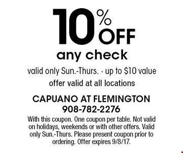 10% off any check up to $10 value. Valid only Sun.-Thurs. Valid at all locations. With this coupon. One coupon per table. Not valid on holidays, weekends or with other offers. Valid only Sun.-Thurs. Please present coupon prior to ordering. Offer expires 9/8/17.