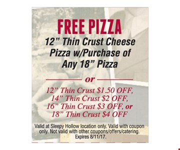 Free pizza with purchase.