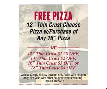 Free Pizza. Expires 10/27/17.
