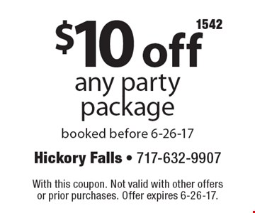 $10 off any party package, booked before 6-26-17. With this coupon. Not valid with other offers or prior purchases. Offer expires 6-26-17.