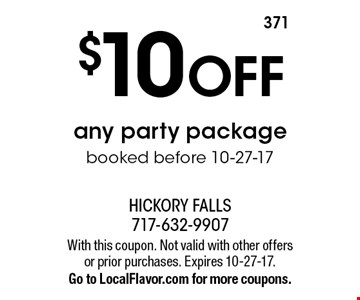 $10 OFF any party package booked before 10-27-17. With this coupon. Not valid with other offers or prior purchases. Expires 10-27-17. Go to LocalFlavor.com for more coupons.